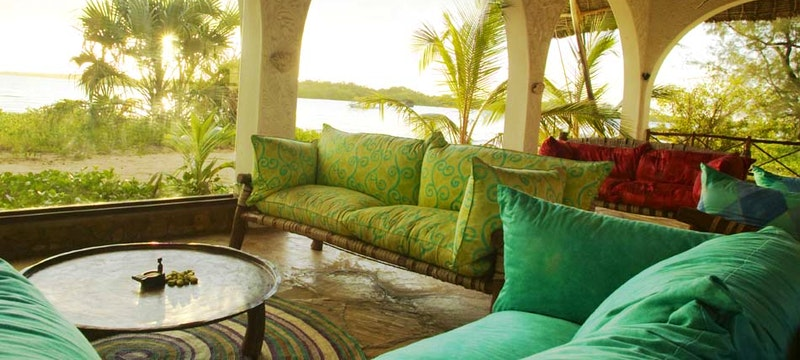 Luxury lounge at The Funzi Keys, Kenya