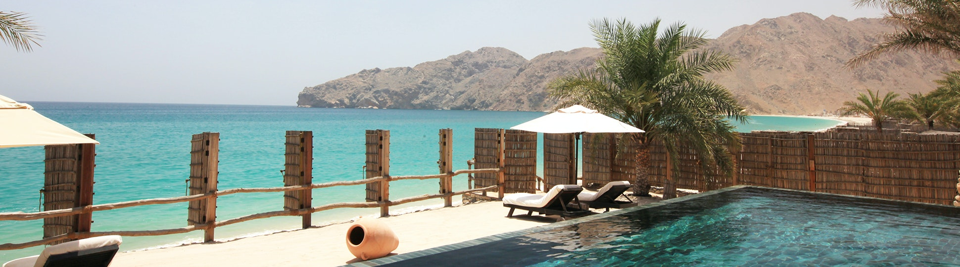 Pool area at Six Senses Zighy Bay
