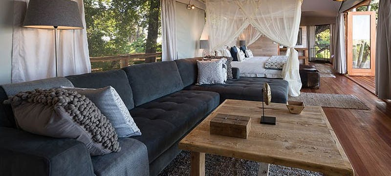 Luxury lodge lounge at Kwetsani Camp, Bostwana