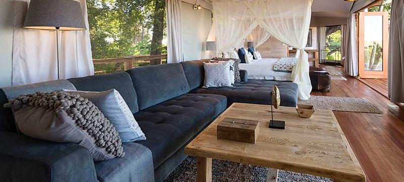 Luxury lodge lounge at Kwetsani Camp, Bostwana