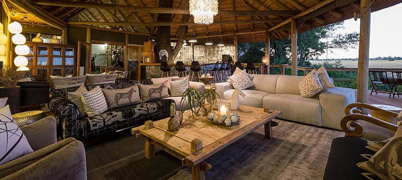 Lodge lounge area at Kwetsani Camp, Bostwana