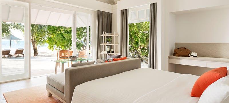 Beach Pool Villa Bedroom at Lux* South Ari Atoll