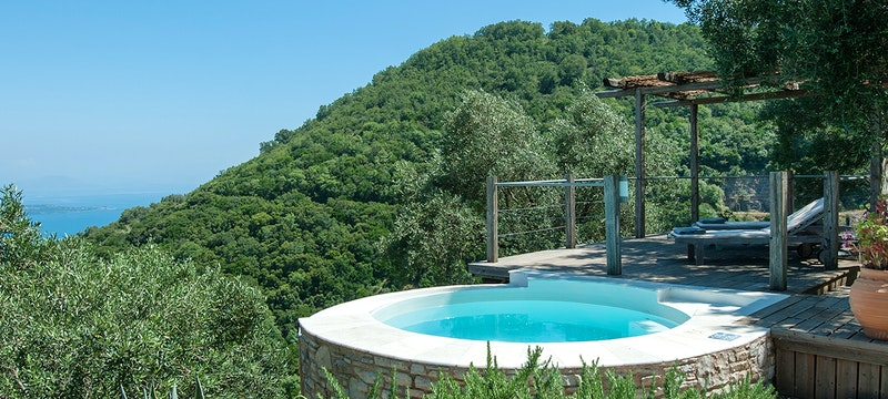 Pool area and View at Villa Morus, Corfu
