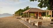 Beach lounge area at Paradise Beach, Nevis