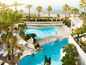 One of three outdoor swimming pools at Puente Romano Beach Resort and Spa, Marbella