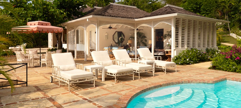 Private terrace and pool area at Round Hill Villas, Jamaica