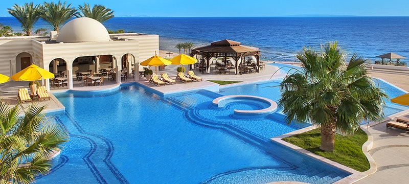 Outside swimming pool at The Oberoi Sahl Hasheesh, Hurghada