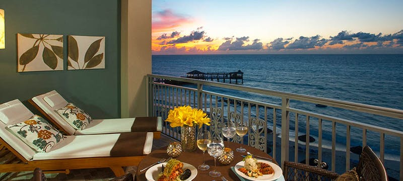 Private balcony in the Balmoral Beachfront Club Level Room at Sandals Royal Bahamian, Bahamas