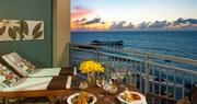 Private balcony in the Balmoral Beachfront Club Level Room at Sandals Royal Bahamian, Bahamas
