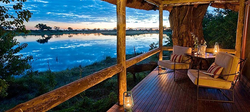Veranda overlooking the Savauti channel at Savuti Camp, Bostwana