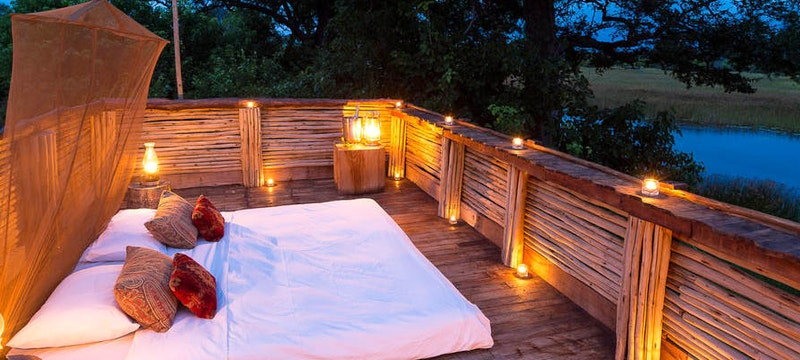 Luxury outside bed at Savuti Camp, Bostwana