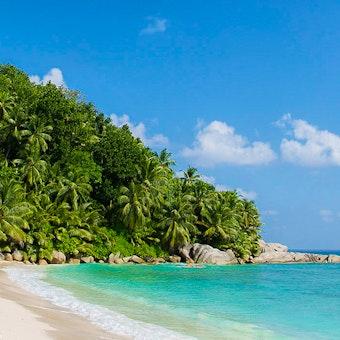 Beach at Six Senses Zil Pasyon, Seychelles