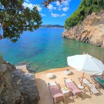 Beach at Villa Domina, Corfu, Greece