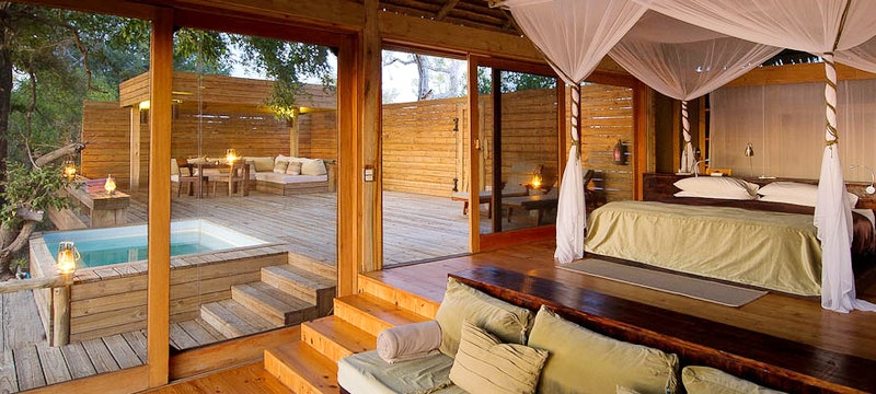 Luxury lodge with private pool at Vumbura Plains, Bostwana