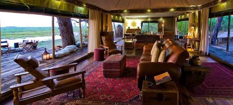 Luxury lodge lounge at Zarafa Camp, Bostwana