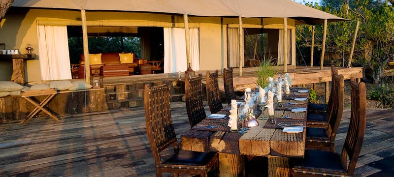 Multi-decked dining area at Zarafa Camp, Bostwana