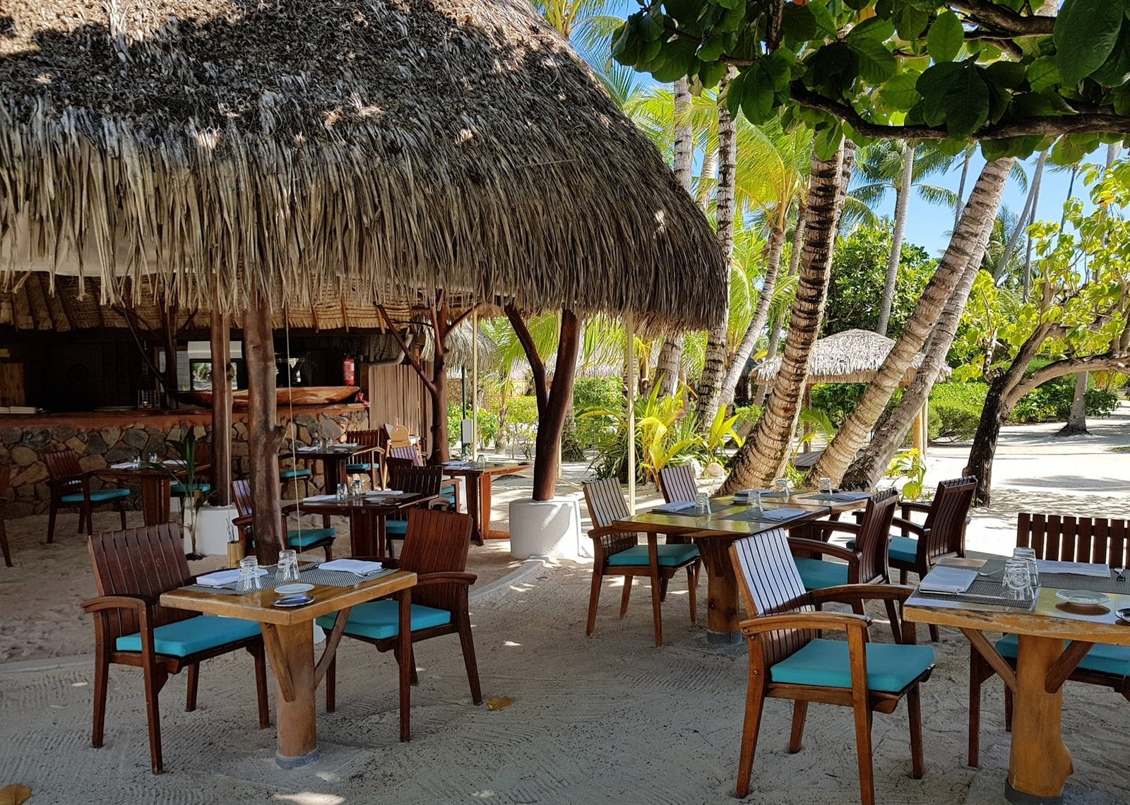 Beach Dining at Le Taha'a Island Resort & Spa, Tahiti, French Polynesia