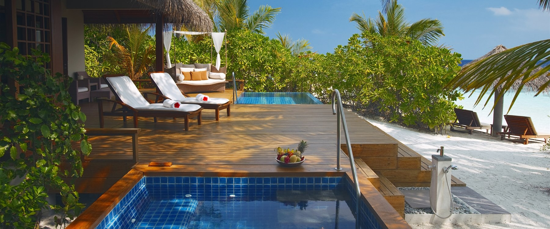 private sun deck at Baros, Maldives