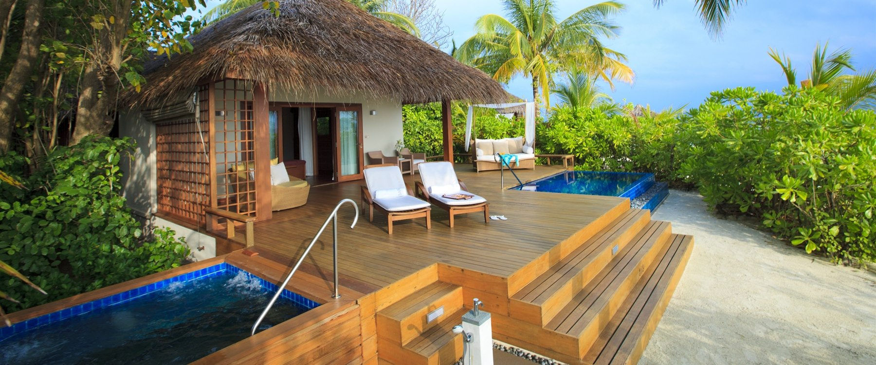 front view of private sun deck at Baros, Maldives