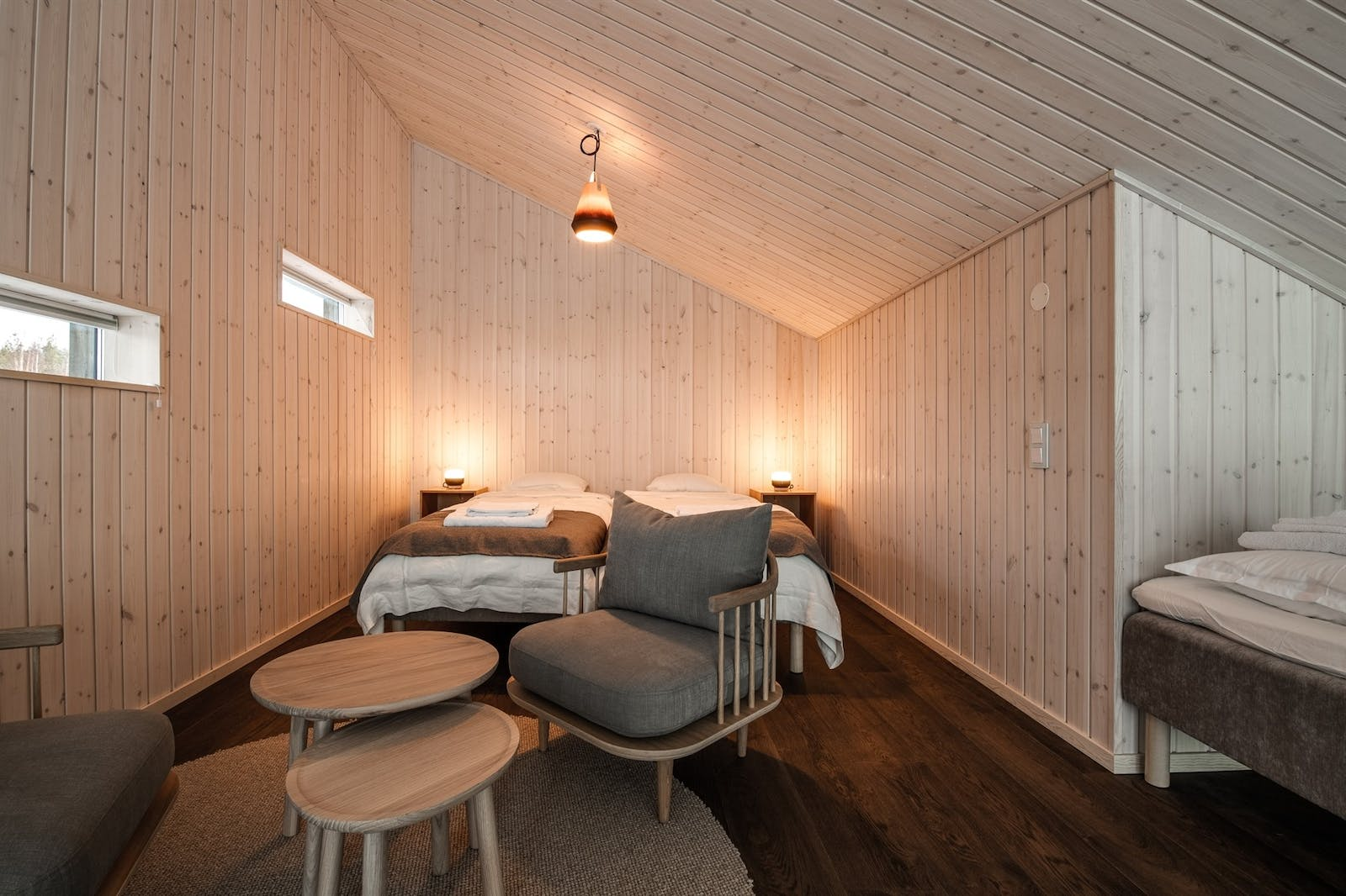 Floating cabin bedroom, Arctic Bath, Sweden