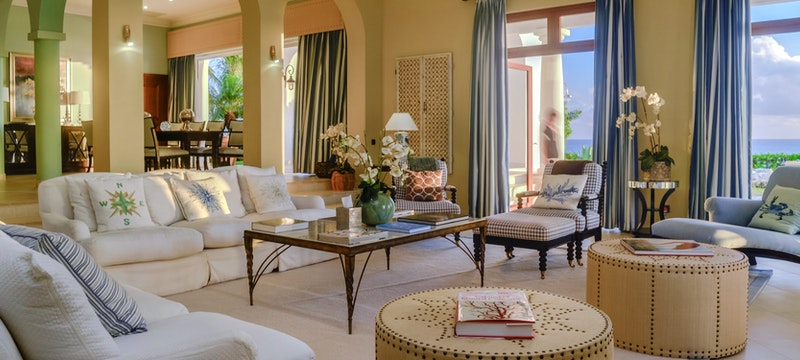 Living room area in luxury villa at Belmond La Samanna, St Martin