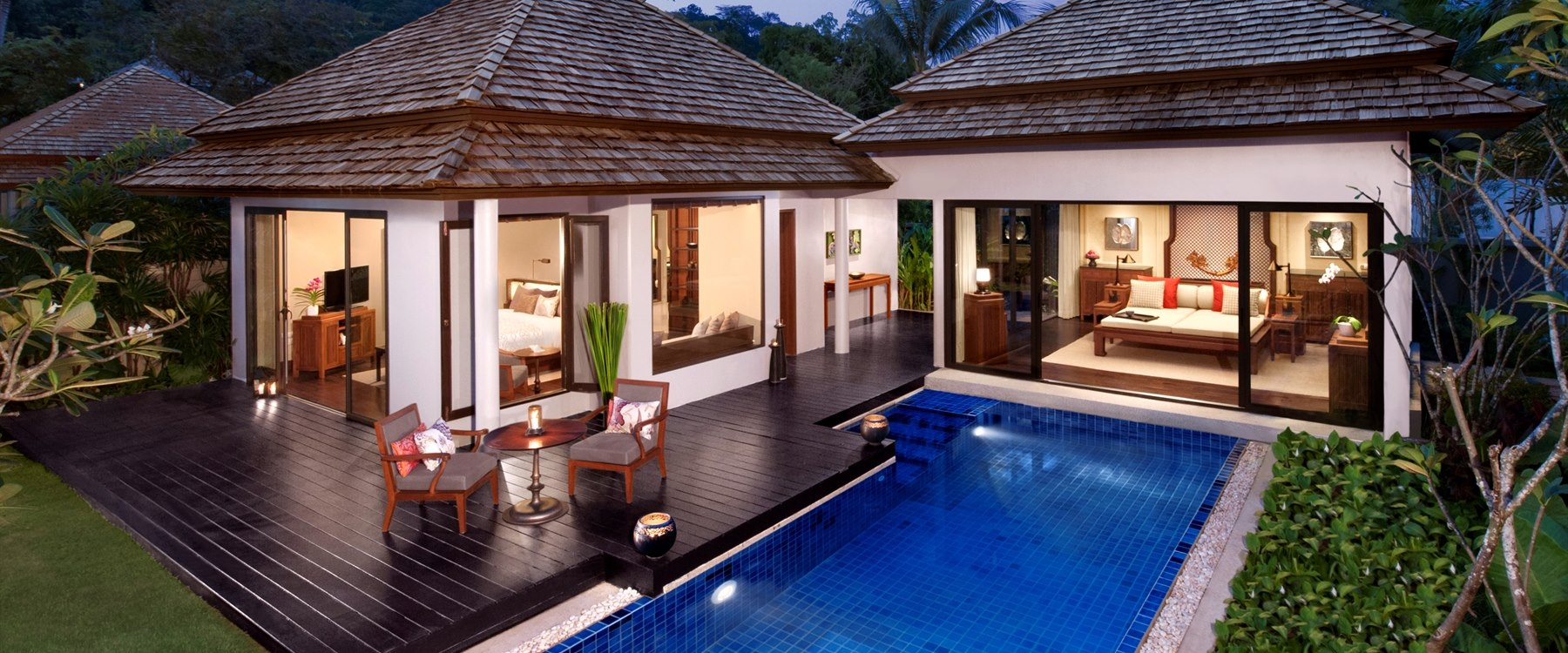 Beach Villa at Night at Anantara Layan Phuket Resort, Thailand