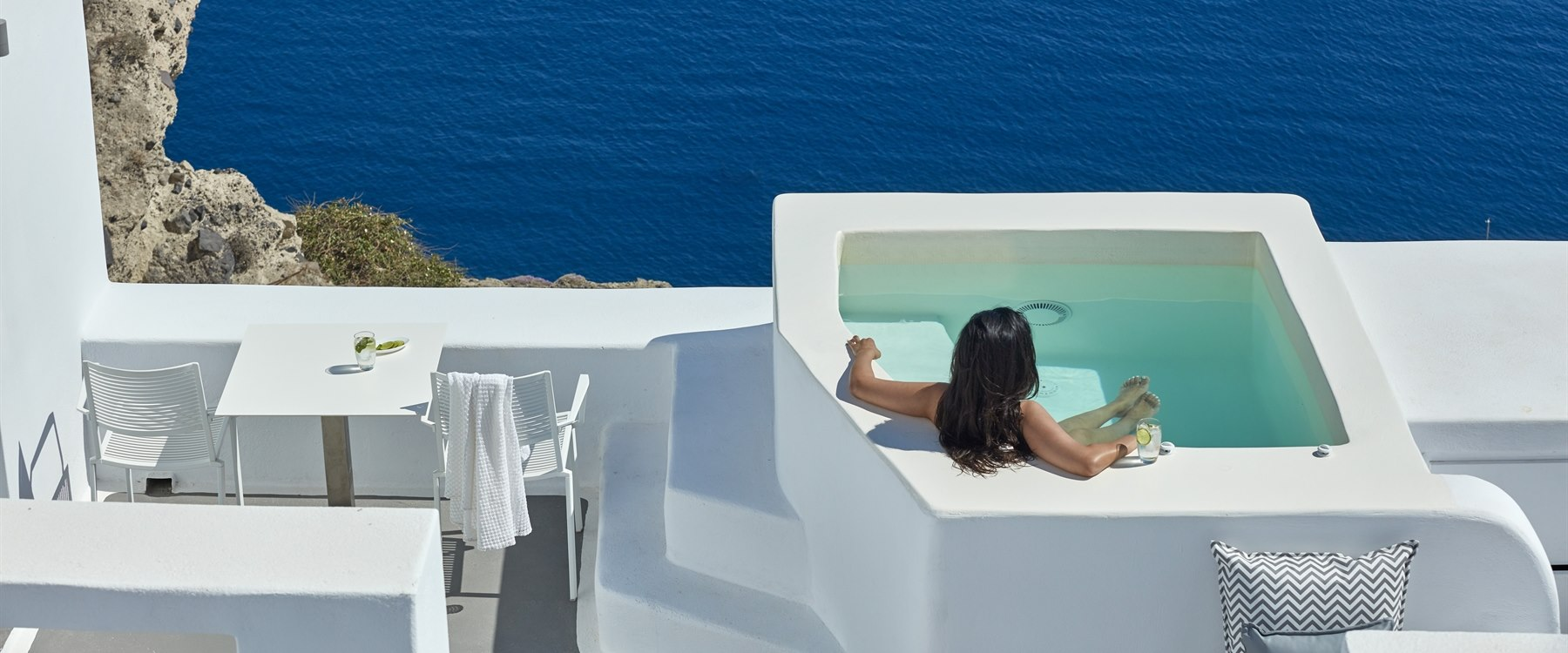 suite bedroom at Katikies, Santorini