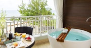 Beachfront penthouse with balcony tranquility soaking tub at Sandals, Barbados