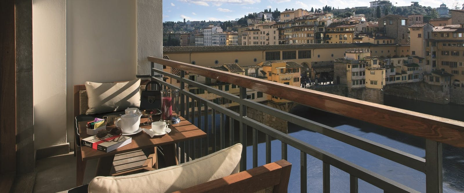 Private Terrace Overlooking Ponte Vecchio at Portrait Firenze, Florence, Italy