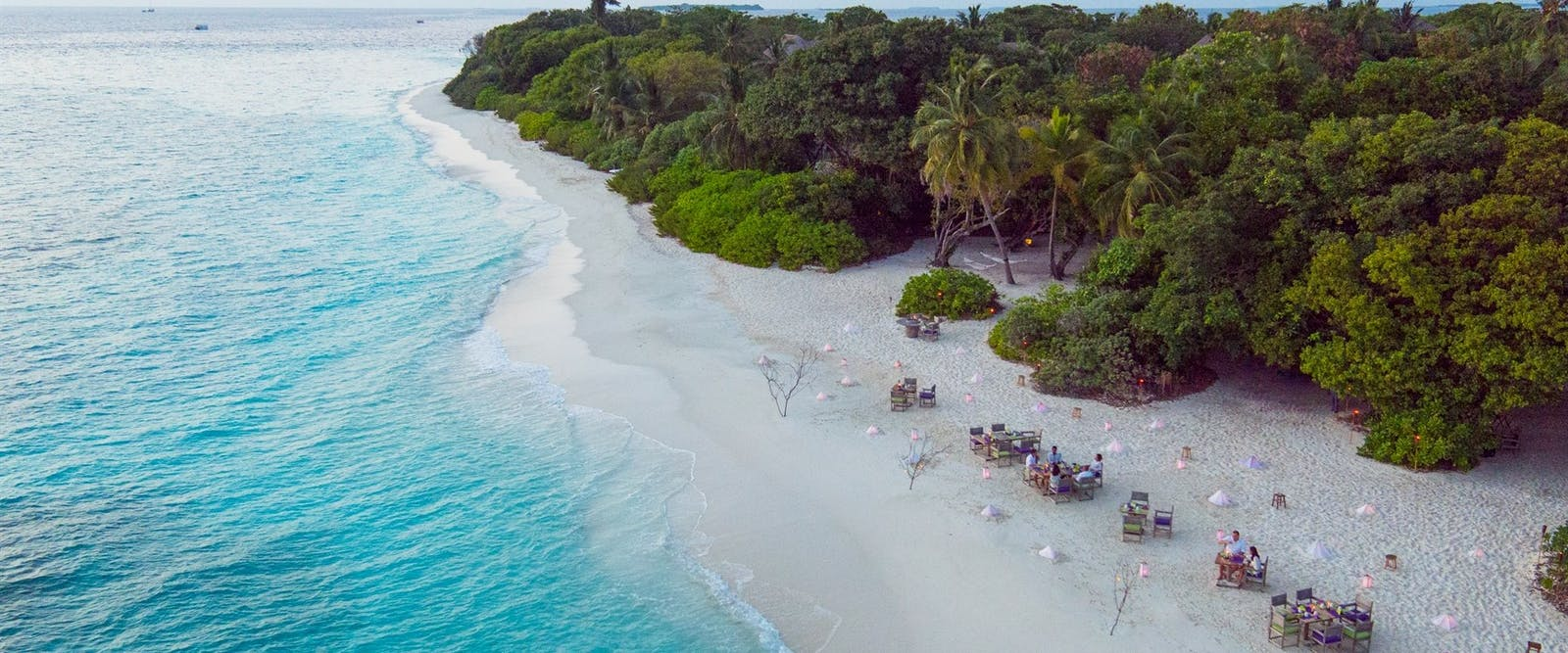Beach dining at Soneva Fushi, Maldives, Indian Ocean