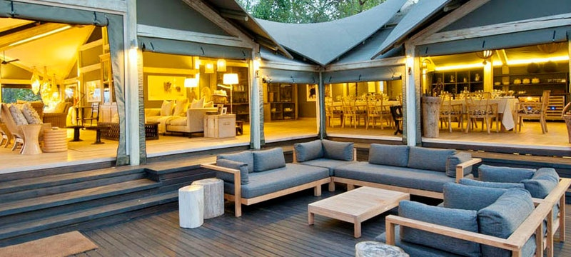Multi-decked lounge at Abu Camp, Bostwana