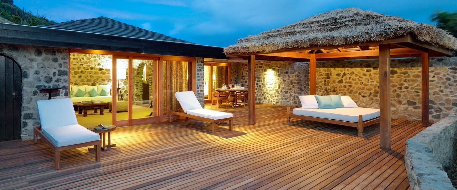 Private terrace area at Two bedroom villa at Petit St. Vincent