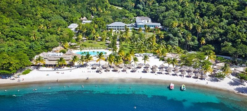 Beautiful aerial view of Sugar Beach, A Viceroy Resort