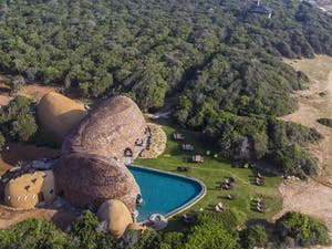 Aerial view of Wild Coast Tented Lodge, Yala National Park