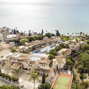 Aerial view of Columbia Beach Resort, Pissouri Bay