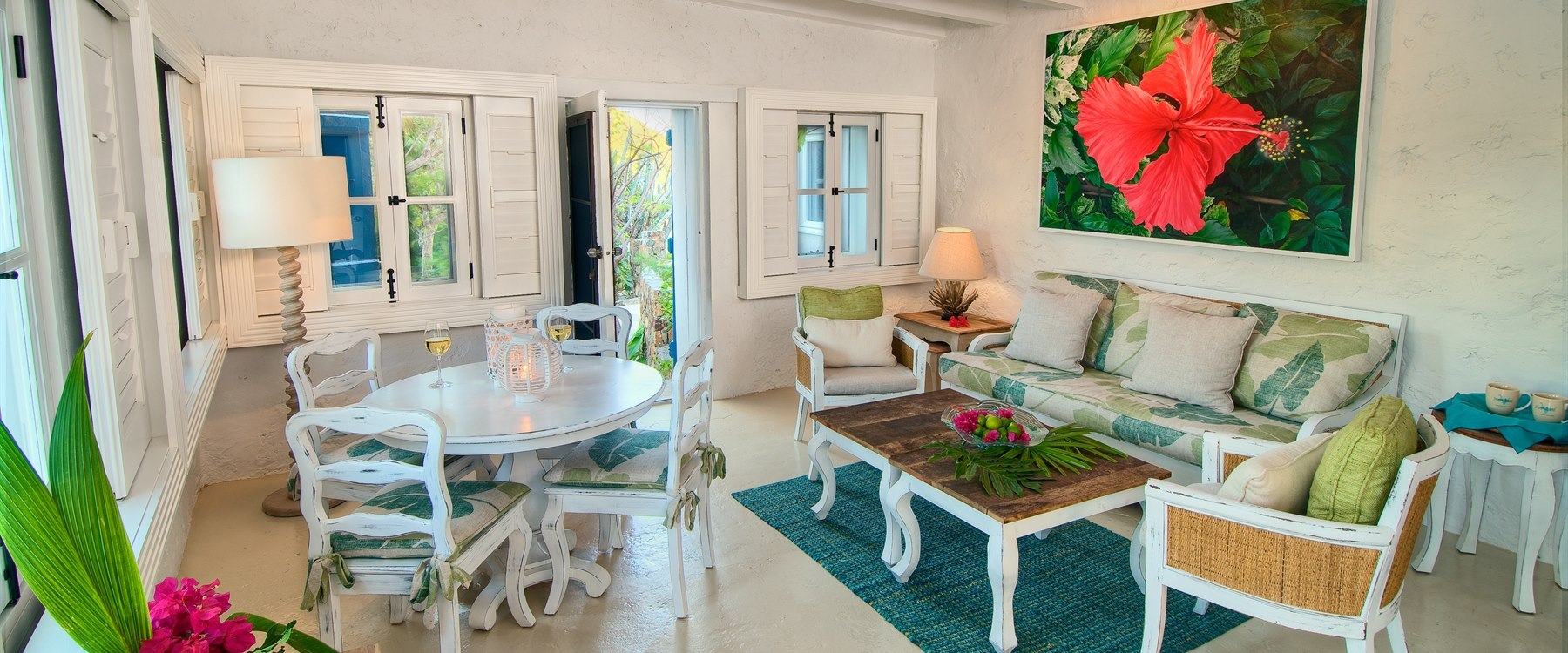 Living room area in 3 Bedroom Villa at Guana Island, British Virgin Islands