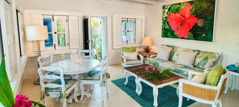 Living room area in 3 Bedroom Villa at Guana Island, British Virgin Islands