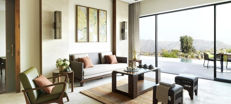 Cliff pool villa living room at  at Anantara Al Jabal Al Akhdar