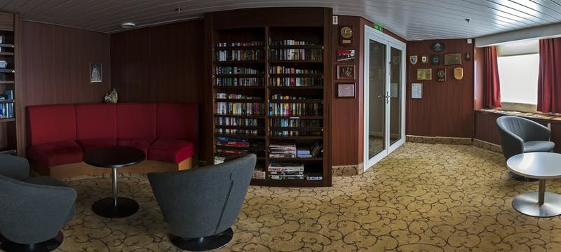 Library in G Expedition ship, Antarctica