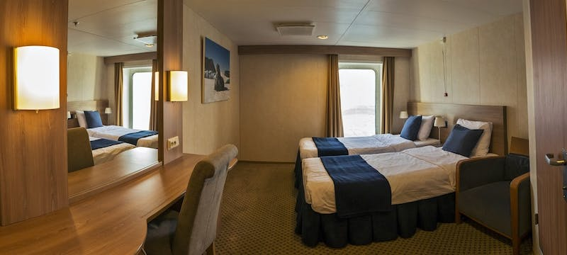 Twin bedroom cabin in G Expedition ship