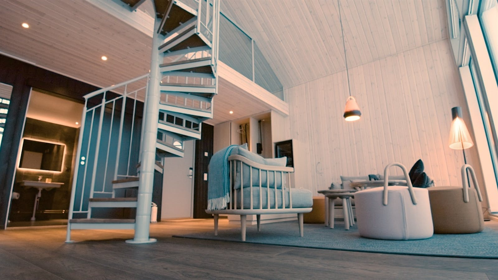 Land Suite with spiral staircase leading to a loft, Arctic Bath, Sweden