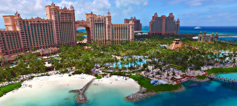 Beautiful aerial shot of Atlantis, Bahamas