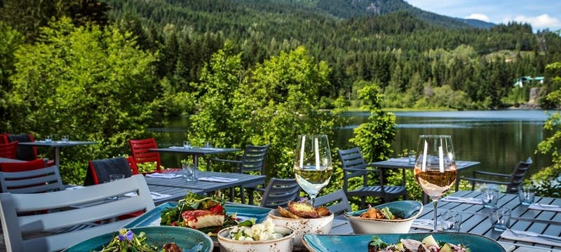 Enjoy lunch overlooking the lake at Nita Lake Lodge