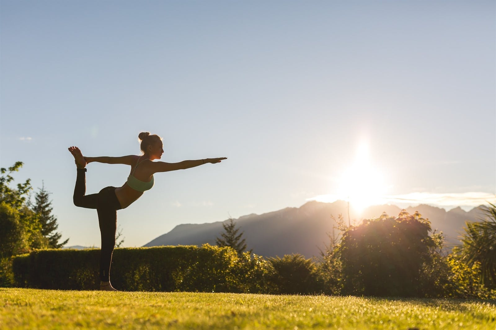 Yoga outside, Queenstown, South Island, New Zealand