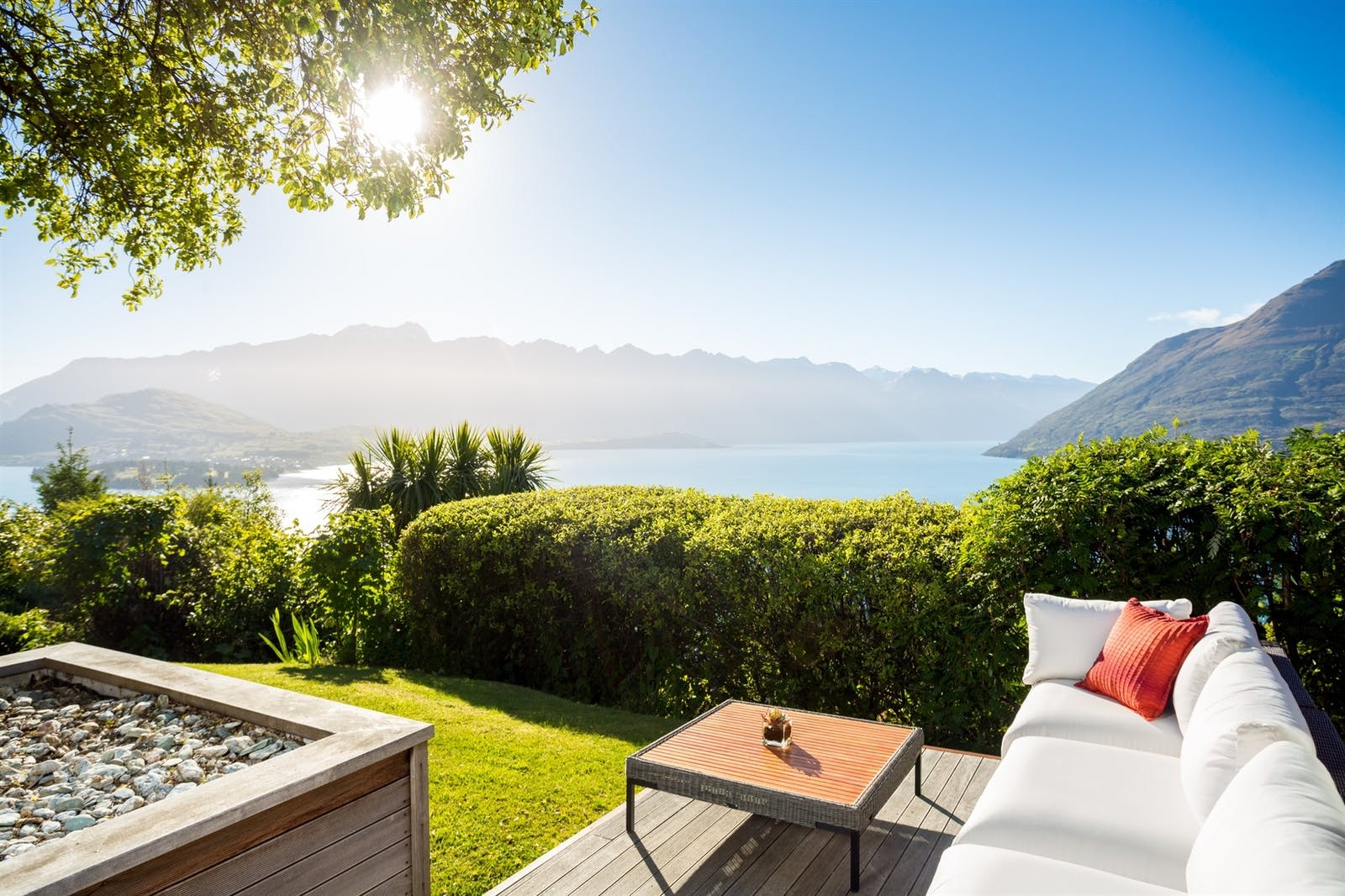 azur lodge outdoor seating, Queenstown, South Island, New Zealand