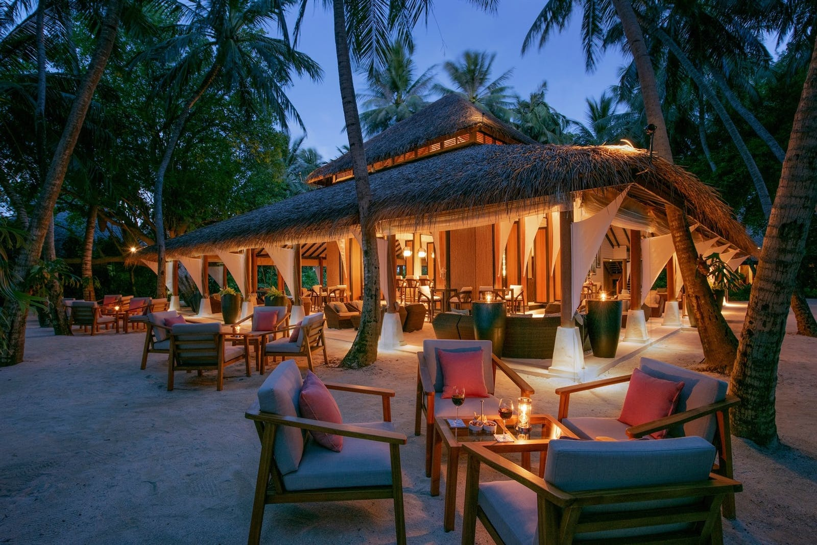 Palm Garden at twilight, Baros, Maldives