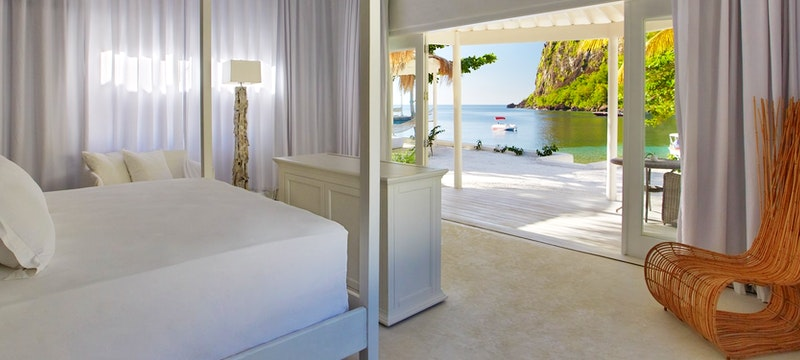 Bedroom of Beachfront Bungalow at Sugar Beach, A Viceroy Resort