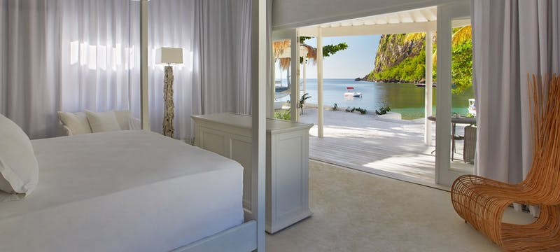Bedroom in Beachfront Bungalow at The Villas at Sugar Beach, A Viceroy Resort