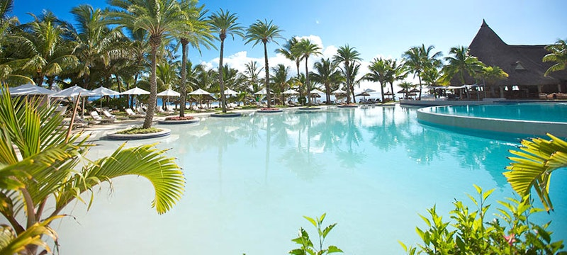 Outside pool at Constance Belle Mare Plage, Mauritius