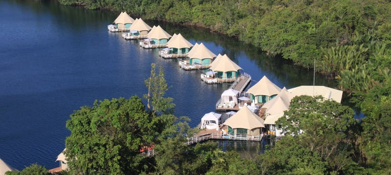 Aerial view of 4 Rivers Floating Lodge, Cambodia